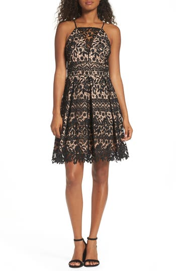 Adelyn Rae Krista Lace Fit & Flare Dress, Red
