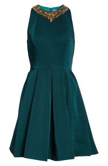 Ieena For MAC Duggal Embellished Fit & Flare Dress, Green