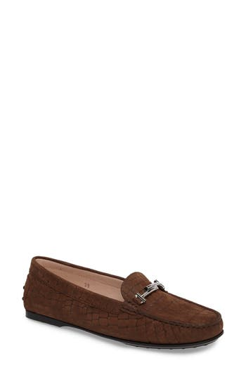 Tods Croc Embossed Double T Loafer - Brown