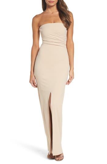 Lulus Own The Night Strapless Maxi Dress, Beige