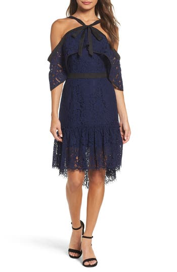 Adelyn Rae Tracy Cold Shoulder Lace Dress, Blue