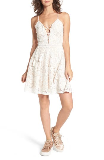 Soprano Fit & Flare Lace-Up Lace Dress, White