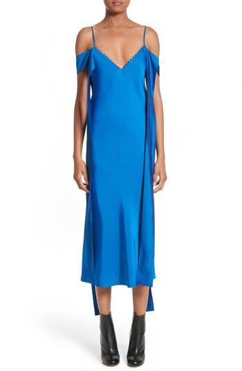 Women's Ellery Affair Cold Shoulder Satin Slipdress, Size 6 US / 10 AU - Blue