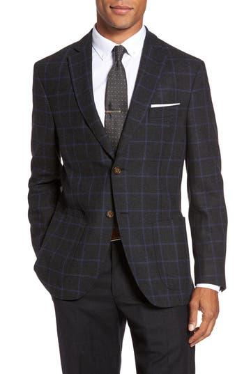 Jkt New York Trim Fit Windowpane Wool Blend Sport Coat, S - Grey
