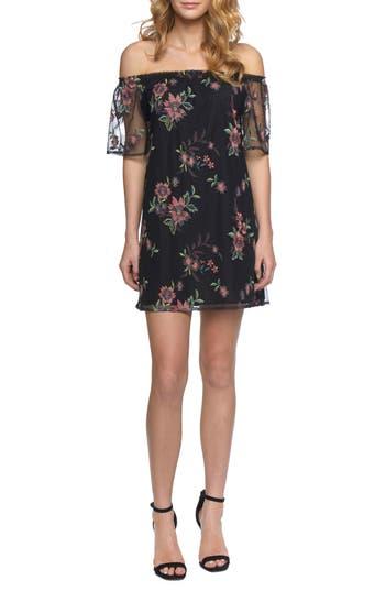 Bb Dakota Lacole Embroidered Mesh Shift Dress, Black