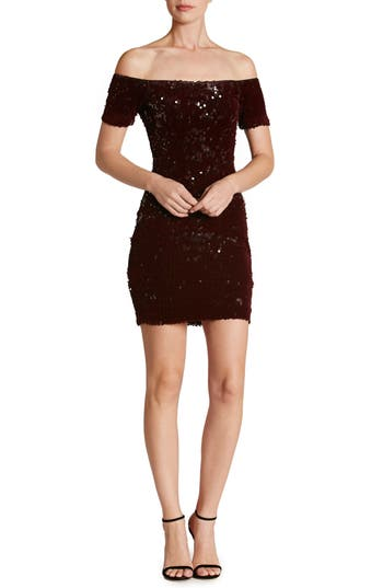 Dress The Population Larissa Sequin Off The Shoulder Body-Con Dress, Burgundy