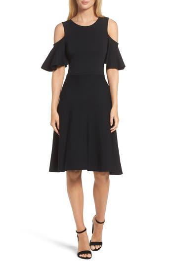 Eliza J Cold Shoulder Fit & Flare Dress, Black
