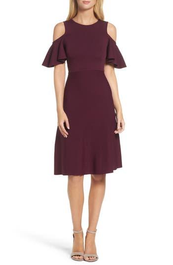 Eliza J Cold Shoulder Fit & Flare Dress, Burgundy