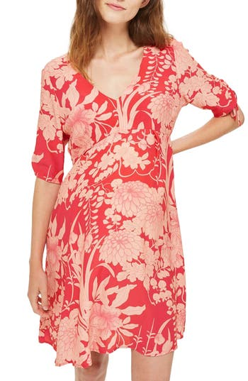 Topshop Floral Print Maternity Tea Dress, US (fits like 0-2) - Red