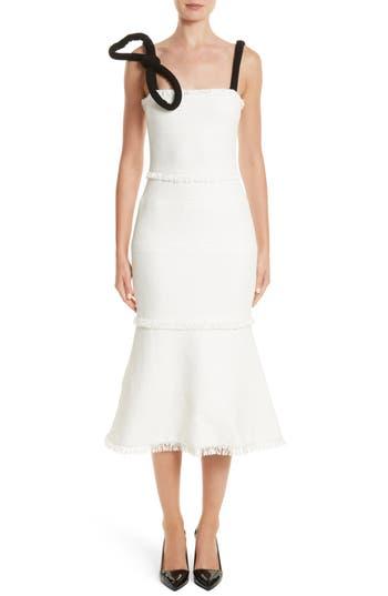 Oscar De La Renta Cord Strap Ribbon Tweed Dress, Ivory