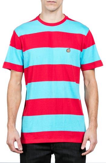 Volcom X Burger Records Stripe T-Shirt, Blue
