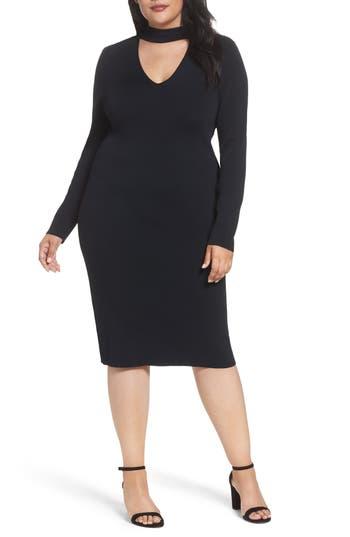 Plus Size Eliza J Choker Neck Sheath Dress, Black