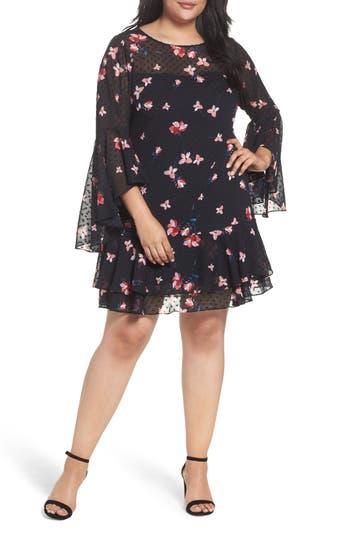 Plus Size Eliza J Ruffle Fit & Flare Dress, Black