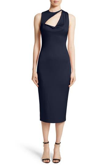 Cushnie Et Ochs Asymmetrical Cowl Neck Pencil Dress, Blue