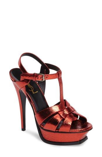 Women's Saint Laurent Tribute Metallic Platform Sandal, Size 6.5US / 36.5EU - Red