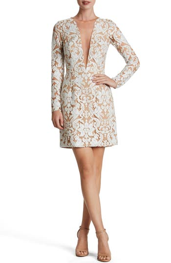 Dress The Population Claudia Plunging Illusion Sequin Lace Minidress, White