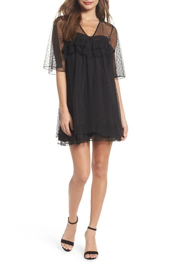 Chelsea28 Mesh Dot Babydoll Dress