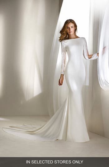 Atelier Pronovias Relato Beaded Long Sleeve Mermaid Gown, Size - Ivory