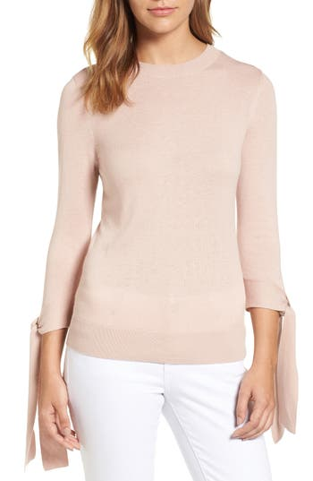 Halogen Tie Sleeve Crewneck Sweater, Pink