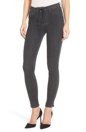 Hudson Jeans Bullocks High Waist Lace-Up Skinny Jeans, 7 - Grey