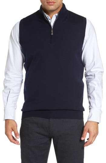 Peter Millar Crown Soft Merino Blend Quarter Zip Vest, Blue