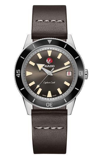 RADO HyperChrome Captain Cook Automatic Leather Strap Watch, 37.3mm