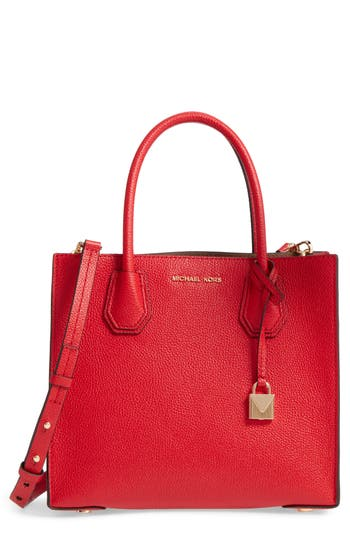 Michael Michael Kors 'Medium Mercer' Leather Tote - Red