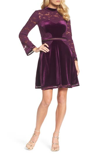 Tadashi Shoji High Neck Lace & Velvet Cocktail Dress, Purple