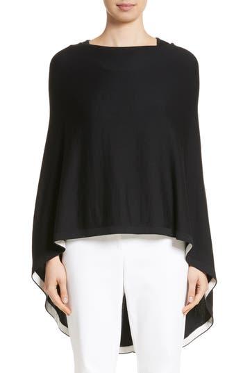 St. John Collection Rib Knit Poncho Sweater, Size Petite/Small - Black
