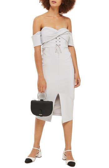 Topshop Twist Lace-Up Off The Shoulder Dress, US (fits like 0) - Grey