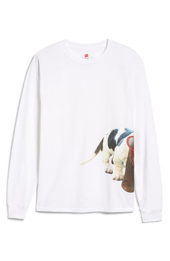 Dean The Basset Heart Sunglasses Long Sleeve T-Shirt, Size Small - White