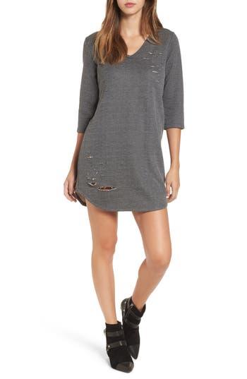 Everly Distressed Sweatshirt Dress, Black