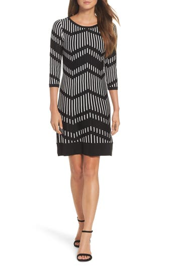 Taylor Dresses Zig Zag Sweater Dress, Black