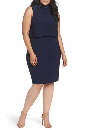 Plus Size Marina Embellished Popover Cocktail Dress, Blue