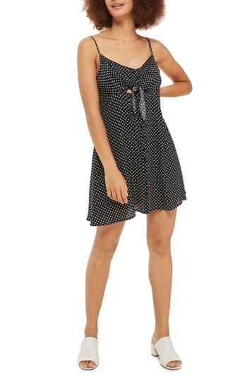 Petite Topshop Pinstar Knot Mini Slipdress, P US (fits like 0P) - Black