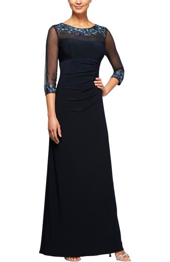 Alex Evenings Embellished Ruched Empire Waist Gown, Blue