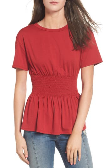 Women's Soprano Smock Waist Peplum Tee, Size Medium - Red
