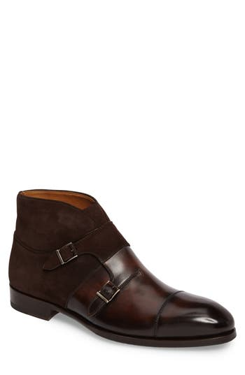 Magnanni Octavian Double Monk Strap Boot, Brown