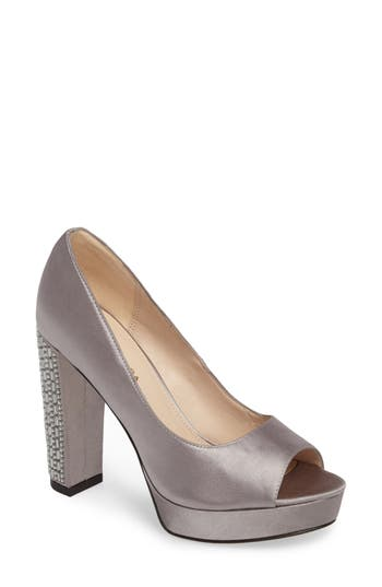 Pelle Moda Paris Peep Toe Pump, Grey