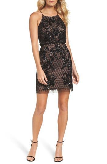 Adrianna Papell Embellished Blouson Minidress, Black