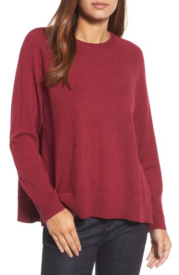 Eileen Fisher Side Slit Merino Wool Sweater, Red