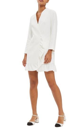 Topshop Ruffle Blazer Dress, US (fits like 0) - Ivory