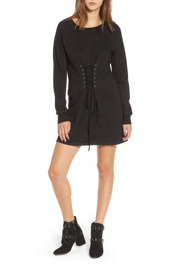 Socialite Corset Detail Sweatshirt Dress, Black