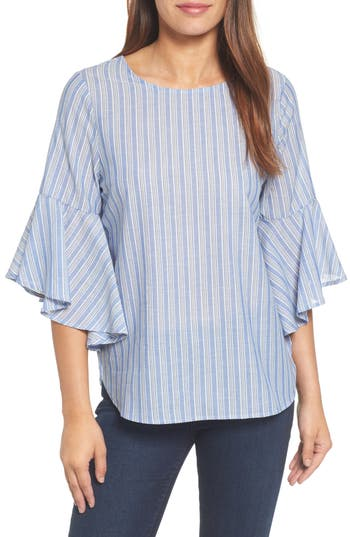 Pleione Knot Bell Sleeve Knot Top, Blue
