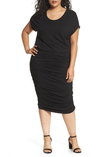 Plus Size Vince Camuto Side Ruched Jersey Midi Dress