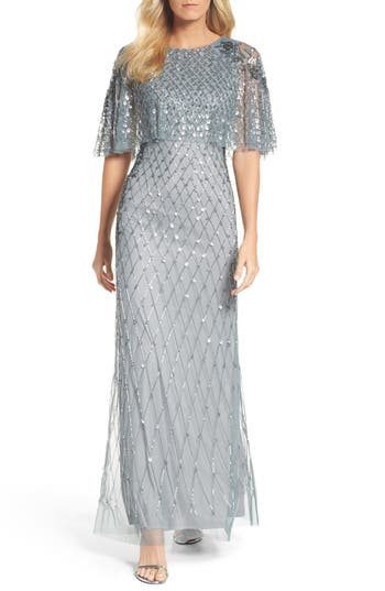 Adrianna Papell Popover Bodice Beaded Gown, Grey
