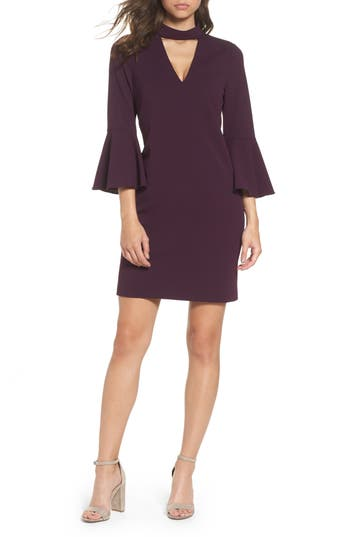 Eliza J Choker Bell Sleeve Shift Dress, Purple