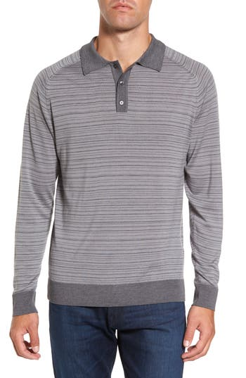 Men's Gant Stripe Merino Wool Polo Sweater, Size Medium - Grey