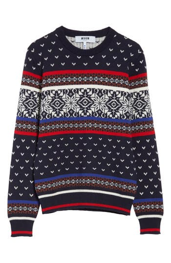 Msgm Wool Blend Ski Sweater, Blue