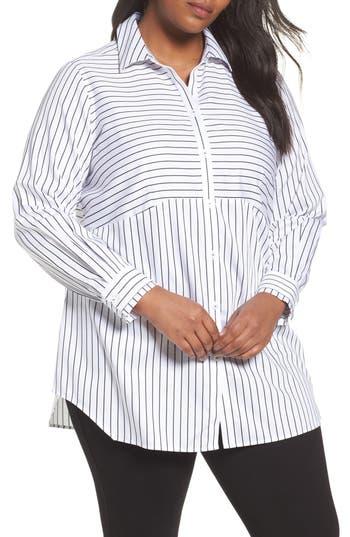 Plus Size Foxcroft Gina Holiday Stripe Shirt, White